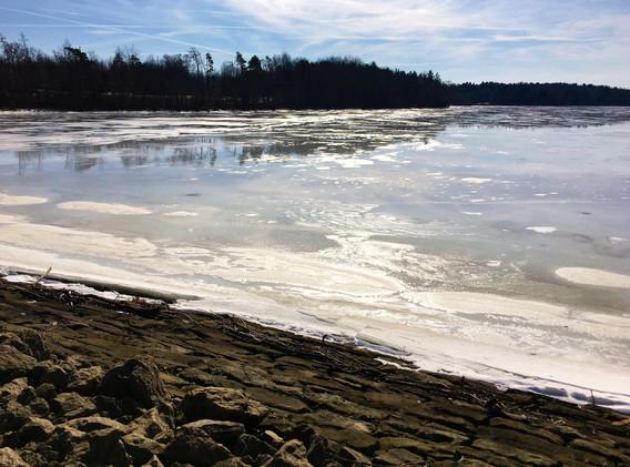 Ice on the Meander Reservoir, photo by C. Hrusovsky