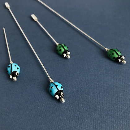 Blue or Green Ladybird Pin