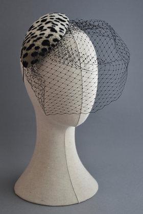 Leopard Print Percher Hat with Veil