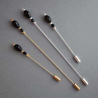 Black Victorian Style Hat Pin