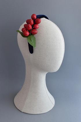 Navy Velvet Headband with Vintage Red Berries