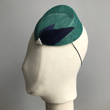 Turquoise Percher Hat with NavyFeathers