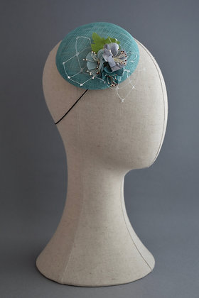 Teal Percher Hat with Vintage Flowers and Netting