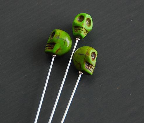 Green Skull Hat Pin