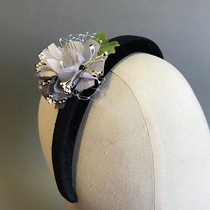 Monochrome Floral Velvet Headband