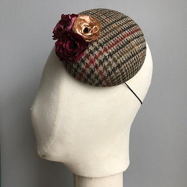 Bespoke ladies tweed percher hat for wed