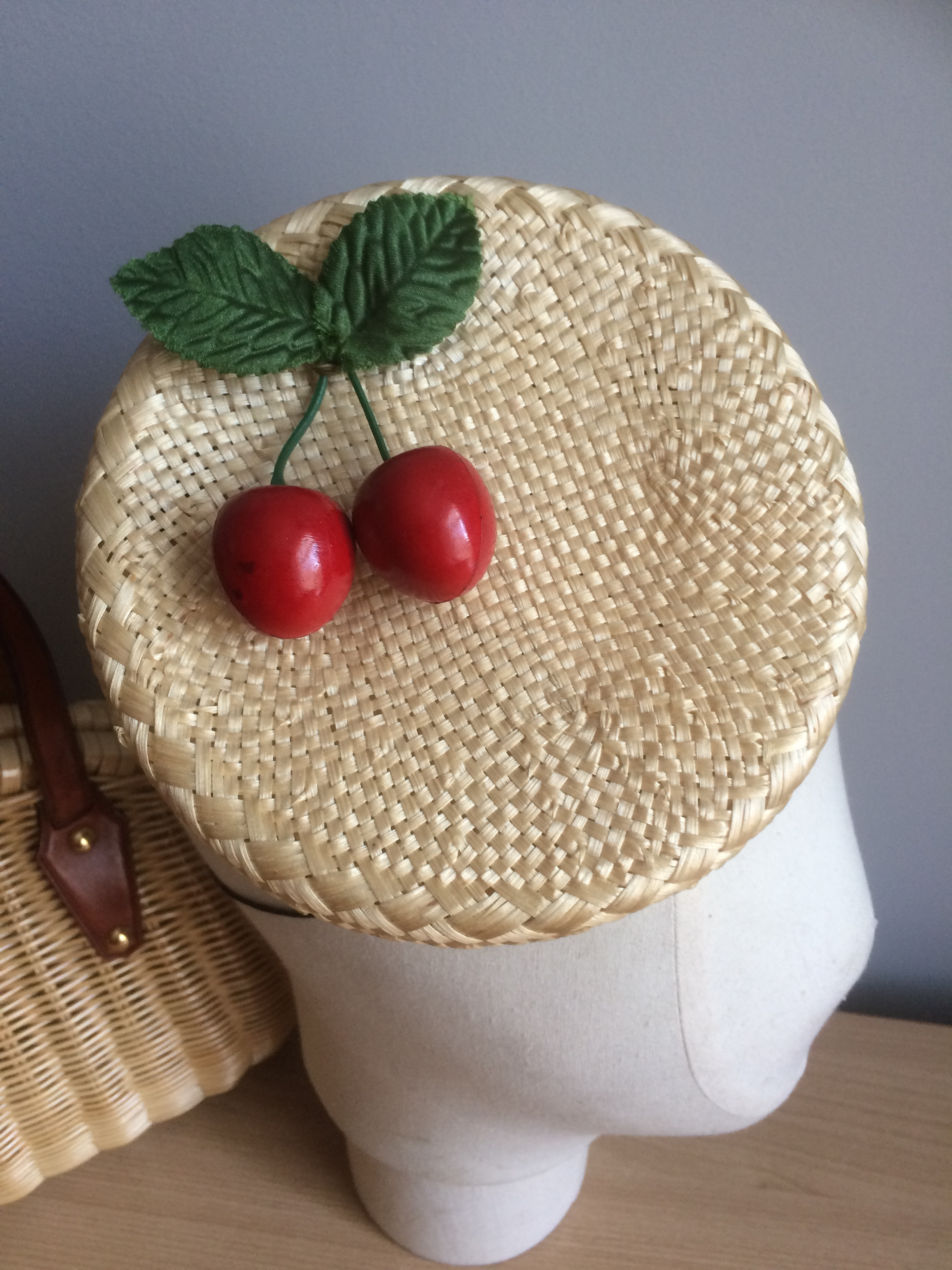 Straw Pillbox with Cherries