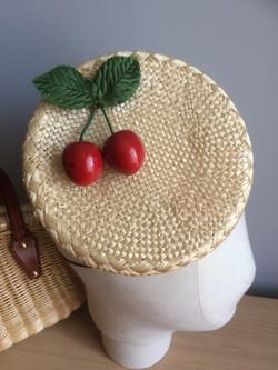 Straw Pillbox with Cherries