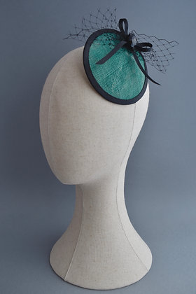 Teal and Black Fascinator with a Heart and Veiling