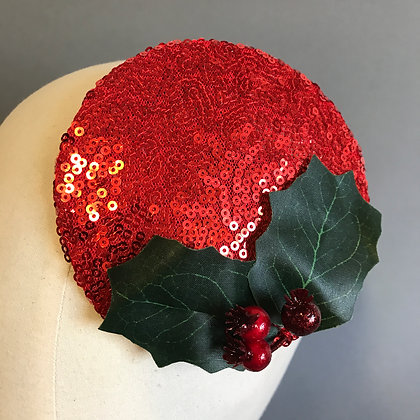 Red Sequin Holly Fascinator