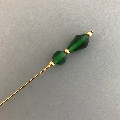 Green and Gold Victorian Style Hat Pin