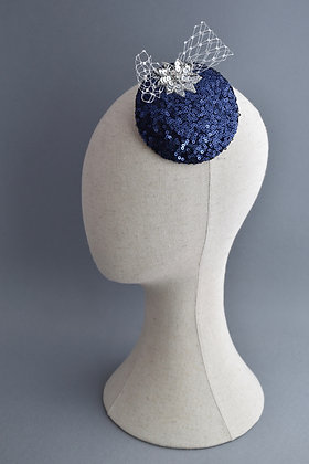 Blue and Silver Sequinned Fascinator