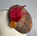 Red & brown tweed winter percher hat