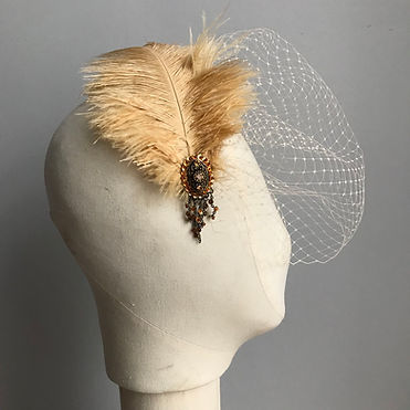 Champagne feather bridal birdcage veil