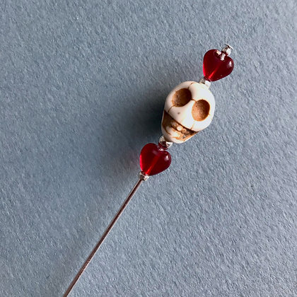 Skull Pin with Red Hearts