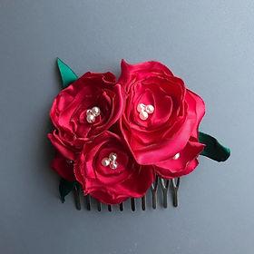 Bespoke Red Rose Hair Flower Comb