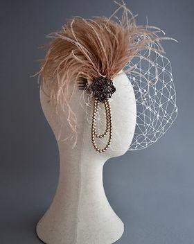 Champagne Birdcage Veil, Wedding Headpie