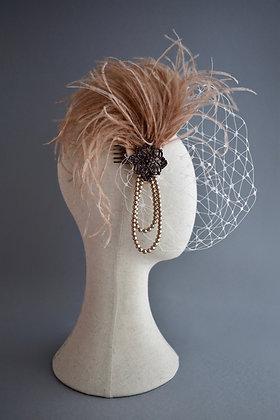 1920s Blush Birdcage Veil
