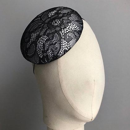 Black & White Lace Percher Hat