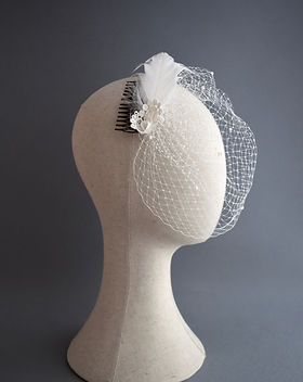 Ivory birdcage veil, lace veil, feathere