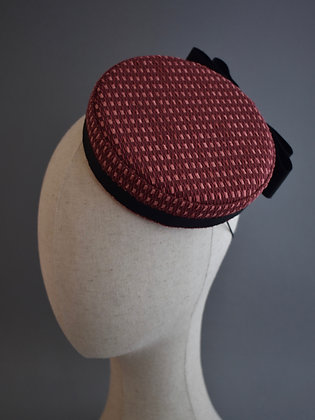 Burgundy Pillbox Hat with Black Bow