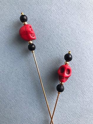 Red, Black & Gold Skull Pin
