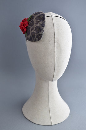 Leopard Print Percher Hat with Red Roses