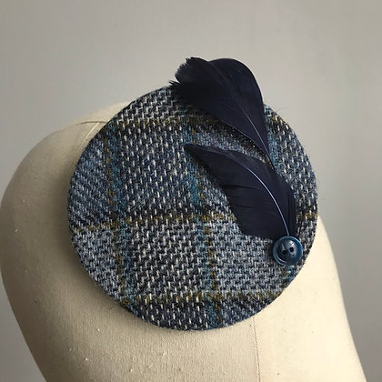 Blue Tweed Fascinator