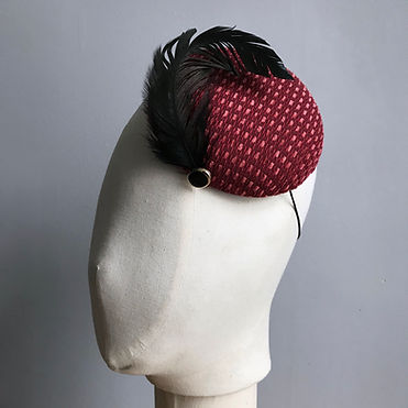 Burgundy percher cocktail hat with black