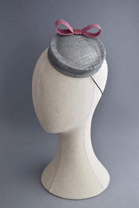 Silver Percher Hat with a Dusky Pink Bow