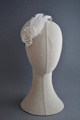 Ivory Headpiece with Lace, Feathers and Vintage Pearls