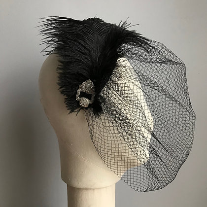 Harlow - Black Veiled Headpiece