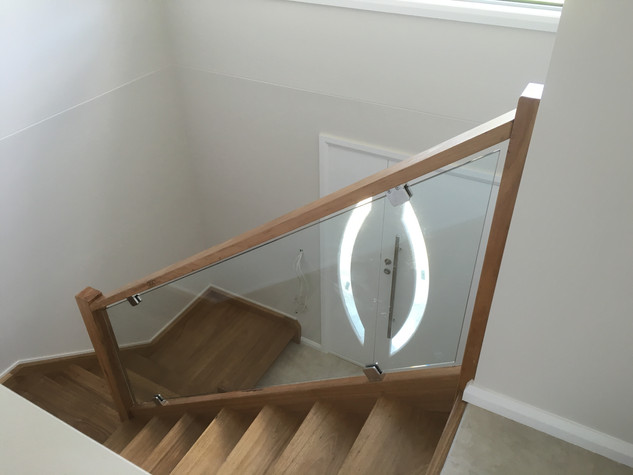 Glass and timber stairs