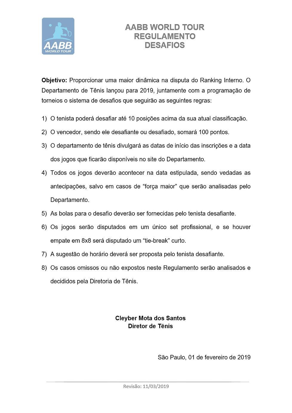 AABB WORLD TOUR - Regulamento - Desafio.