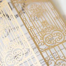 laser cut wedding invitation, gated wedd