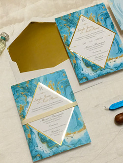 turqoise marble an gold invitation _ ami