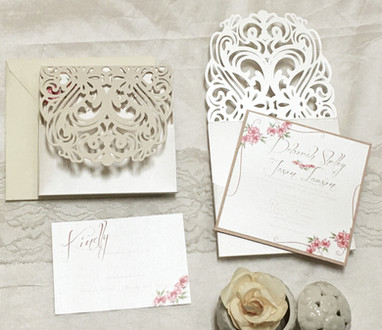 custom lace pocket wedding invitation am