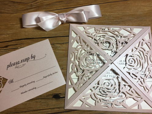 Rose amira design laser cut wedding invitation couture rose laser cut pochette invitation done in blush these lovely invitations are perfect introduction to your garden theme wedding stopboris Image collections