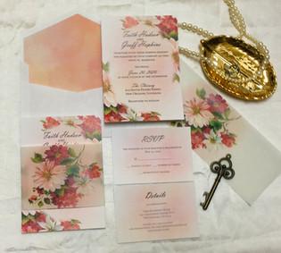 romanic painted florals wedding invitati