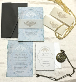 Blue wedding invitation Vintage desing (