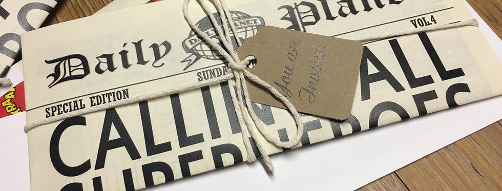 Birthday invitation, Custom invitations, Newspaper Invitation, superhero invitation