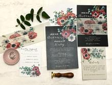 moody flower anamone wedding invitation