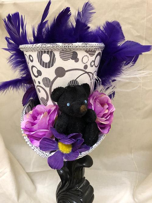 Black Teddy Bear Mini Top Hat