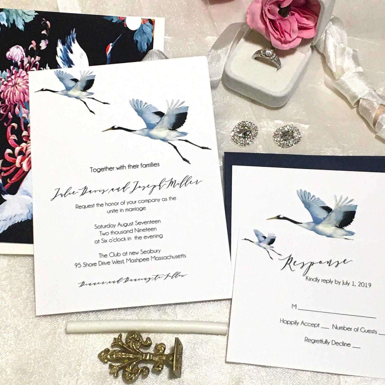Crane Wedding Invitation - Amira Design