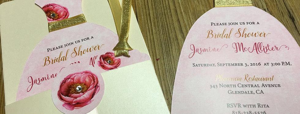 bridal shower invitation, couture bridal shower invitation, bridal shower, amira design, custom invitation, 2017 trendiest