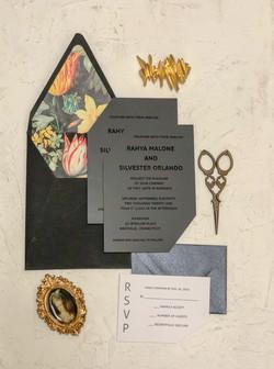 rahya matte black acylic wedding invitat