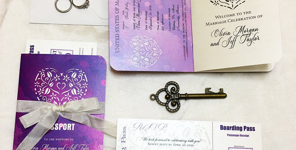 Watercolor Purple Passport