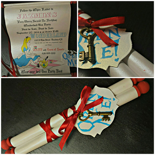 Alice In Wonderland Invitation Amira Design Scroll Birthday