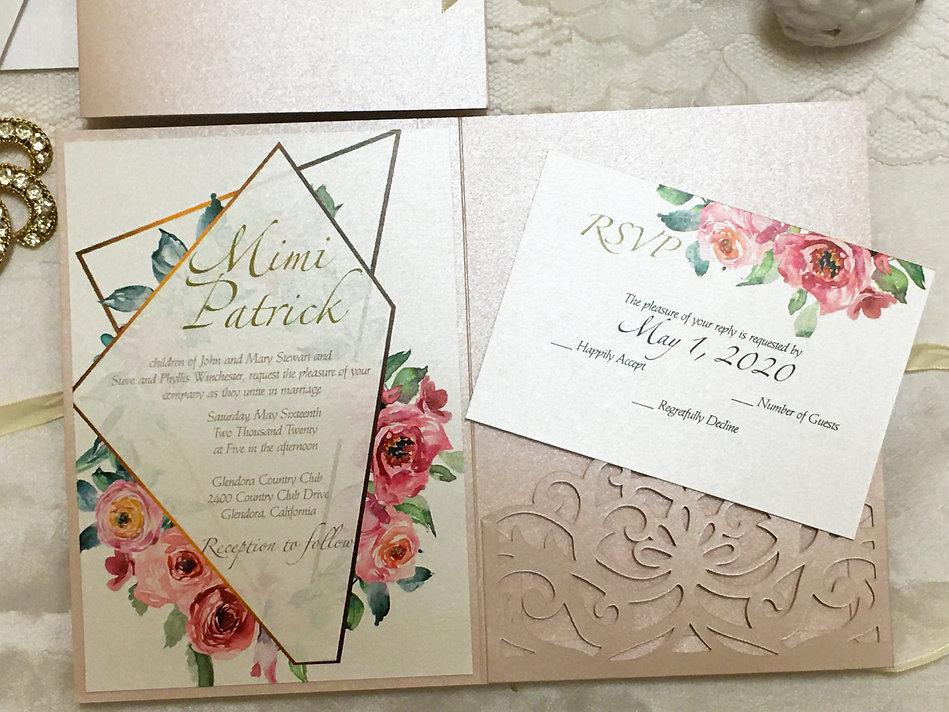 rose gold custom lace pocket wedding inv