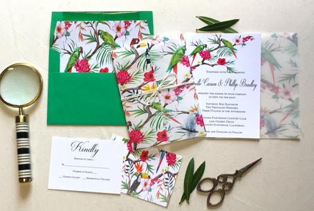 birds of paradise wedding invitation - a